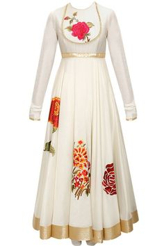 Ivory floral applique work anarkali set available only at Pernia's Pop-Up Shop.: