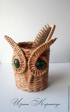 """Органайзер """"Мудрая сова"""" - коричневый,плетение,плетение из бумаги,Плетение из лозы"""