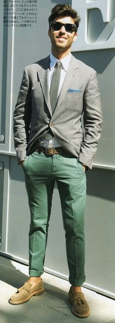 green trousers.