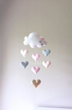 Baby mobile  Heart mobile  cloud mobile  by GiseleBlakerDesigns