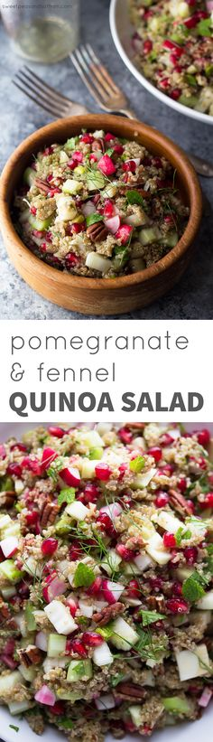 Pomegranate Fennel Quinoa Salad, an easy, healthy make ahead salad. Perfect for Thanksgiving dinner or the holidays!  vegan, gluten-free