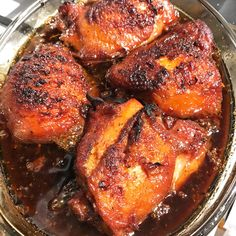 I used bone in, skin on chicken thighs because it's what I had on hand :) One pack bone in skin on chicken thighs (mine had 4 fairly large thighs)) Soy sauce 1/2cup Honey 1/2 cup Hoisin sauce…