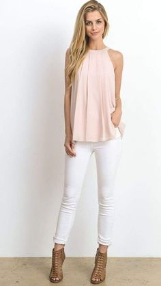 Our Minimalist Bow Back Tank brings elegance to the essentials. This essential layering top is made from a solid hue for endless styling options. hang dry Imported Size Chart Size Hip Bust Waist S - - - M - - - L - Business Casual Outfits, Classy Outfits, Cute Outfits, White Pants Outfit, Haute Couture Fashion, Work Attire, Minimalist Fashion, Fashion Outfits, Fashion Tips