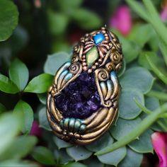 Mystic Craft Pendant  Amethyst Crystal by CreatureRelm on Etsy
