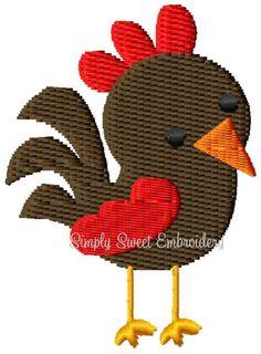 Rooster Mini Machine Embroidery Design