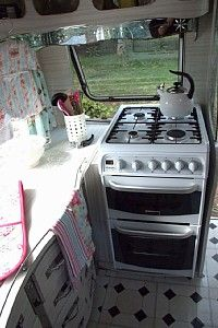 gas cooker with a double oven..wow that's Glamping!