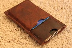 Leather iPhone 5, 5s or 5c case with pocket slipcover sleeve wallet Handmade in USA Minimalist Top Grain Genuine Leather on Etsy, $27.49