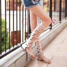 2016 fashion summer women sandals sexy Rome high tube cold bandage shoes female flat high student cool sandals big size 42 43