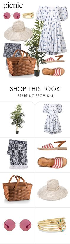 """""""Picnic"""" by windrasiregar on Polyvore featuring Nearly Natural, Caroline Constas, n.d.c., Gigi Burris Millinery, Ray-Ban and Jennifer Meyer Jewelry"""