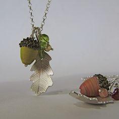 Silver oak leaf necklace by www.catherinewoodall.etsy.com with handmade glass acorns by Sandy Kelly of www.flowerjasper1964.etsy.com