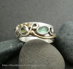 Pale green tourmaline & peridot ring,  hand crafted sterling silver ring band with a flowing design, gold colored brass details, size 10.5 on Etsy, $120.00