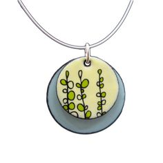 Sweet Pea Necklace Lemon Yellow and Aqua Blue by marmarModern