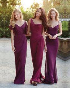 Burgundy bridesmaid dresses, mismatched bridesmaid dresses, chiffon bridesmaid…