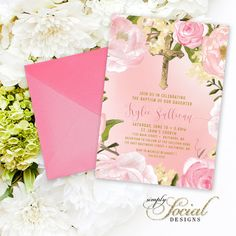 Floral Baptism Invitation - First Holy Communion Peony Calligraphy Personalized Custom Flowers Pink Botanical Printable Party Invite