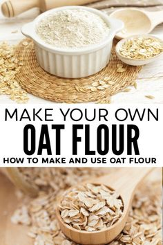 Making your own flour is both easy and cost effective - learn how to make oat flour and use it in your favorite oat flour recipes to increase the health benefits of baked goods! Oat Flour Recipes, Oatmeal Recipes, Milk Recipes, Whole Food Recipes, Cooking Recipes, Make Your Own Flour, How To Make Flour, How To Make Oats, Oatmeal Flour