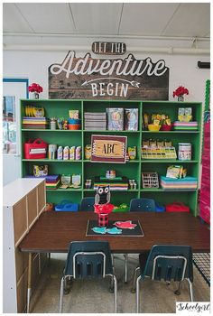 Camping Theme Classroom Decor from Schoolgirl Style Classroom Layout, New Classroom, Classroom Design, Kindergarten Classroom, Classroom Themes, Classroom Organization, Classroom Camping Theme, Geography Classroom, Classroom Borders