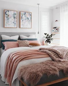 Home Decoration Ideas Indian White Pink Feminine Bedroom Inspiration Cozy Beds. Home Decoration Ideas Indian White Pink Feminine Bedroom Inspiration Cozy Beds Small Master Bedroom, Master Bedroom Design, Home Bedroom, Bedroom Designs, Dream Bedroom, Warm Bedroom, Bedroom Brown, Bedroom Neutral, Master Suite
