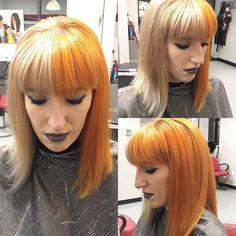 WEBSTA @ 123nikkib - Half blonde half orange on the bestie. #pravananeons #cruellahair #pravana #salonlife #nikkibhairstyling #hairstylist #lovewhatyoudo #blonde #olaplex #orangehair #pravanacolor