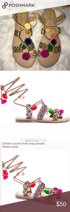 New Chinese Laundry Pom Pom sandals New size 8 Chinese Laundry Shoes Sandals