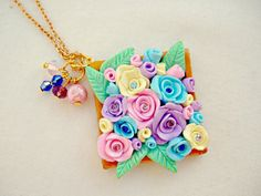 Fimo Flower Necklace, Polymer Clay Jewelry, Pastel Rose Necklace, Rhinestone Roses, Crystal Necklace, Gold Polymer Clay, Pastel Flowers