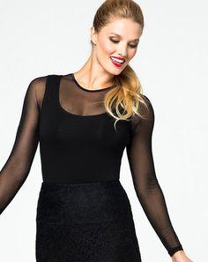 Sophia Top | Ruby Ribbon - Ruby Ribbon Sheer sleeve and neckline - Built-in Shaping slip