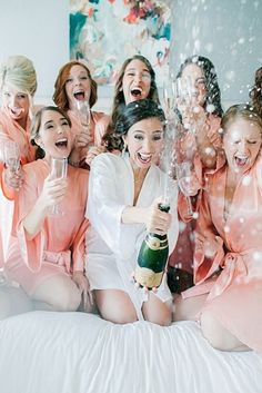 getting ready with bridesmaids party in the morning in silk robes