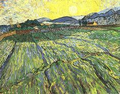 Vincent van Gogh: Enclosed Field with Rising Sun. Oil on canvas. Saint-Remy: December,1889. Private collection (why aren't these people my friends?).
