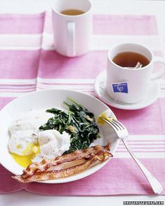 Poached Eggs with Bacon Grits and Wilted Spinach - Martha Stewart Recipes