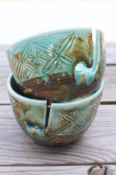 Gorgeous+Yarn+Bowl+in+Aquamarine+and+Brown+by+ThouArtPottery,+$38.00