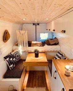Bus Living, Tiny Living, Home And Living, Living Spaces, Camper Interior Design, Camper Life, Camper Van, Bus Life, Van Conversion Interior