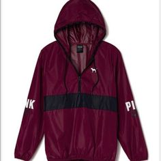 e3b14d83b6b Victorias Secret PINK Anorak Pullover Hoodie Windbreaker Jacket Maroon  XS Sm NEW in Clothing
