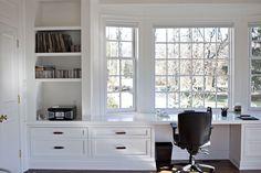 Long built-in desk nook