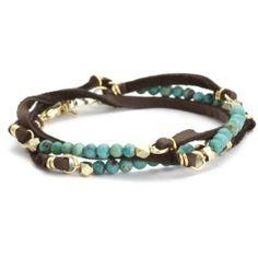 Ettika Turquoise Semi Precious Stones Brown Deerskin Leather Bracelet: Jewelry: Amazon.com