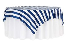 "Stripe 90""x90"" Square Satin Table Overlay - Navy Blue & White"