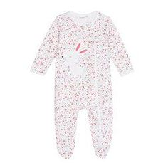 Babies white floral bunny sleepsuit