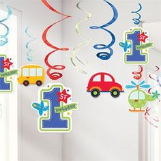 All Aboard 1st Birthday Hanging Swirl 12pk With colourful cartoon cardstock cutouts in the shape of cars busses and helicopters these adorable