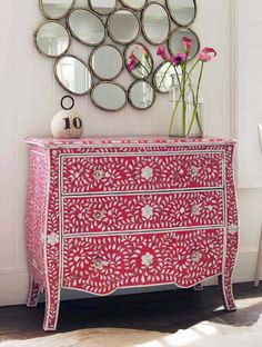 Floral Pink & Mother of Pearl Inlay Chest of Drawers from Graham & Green