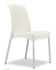 The Olimpia Chair is imported directly from SCAB Italy. Cintesi is the Exclusive Agent in New Zealand for SCAB products. Made from a polypropylene main body with woven pattern surface and supported by 25 mm anodised aluminium legs. Stackable and UV treated for full outdoor use.