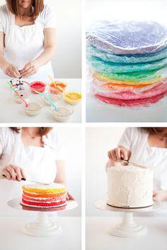 Mostanában sokan kérdezitek, hogy hogyan lehet szép szivárvány tortát készíteni. Olyat amiben a színek élénkek, szépek, mélyek....A megoldás nagyon egyszerű!Ezzel ki tudjuk küszöbölni, hogy a piskóta alap sárga színe elszínezze