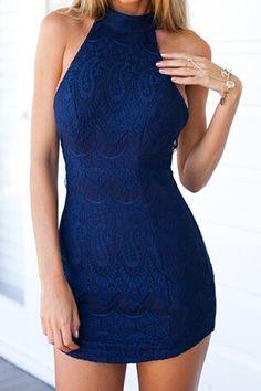 Halter Neck Solid Color Lace Backless Dress PURPLISH BLUE: Lace Dresses   ZAFUL
