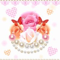 Pink Sparkle Heart with Pearls..Butterflies and Plaid Hearts