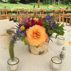 birch centerpiece, Vermont Wedding Flowers, Floral Artistry, Stowe wedding