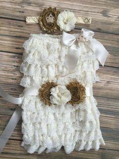 Ivory Gold/Vintage/FlowerGirl/First Birthday/Gold by BabyTrendzz