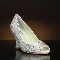 Emma by Benjamin Adams Wedding Shoes at My Glass Slipper Wedge Wedding Shoes, Bridal Shoes, Glass Slipper, Silver Dress, My Glass, Peep Toe, Wedges, Flats, Heels
