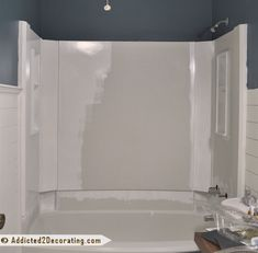 home repairs,home maintenance,home remodeling,home renovation Diy Bathtub, Bathtub Tile, Painting Bathtub, Bath Tub, How To Paint Bathtub, Painting Tiles, Bathtub Shower, Blue Bathtub, Concrete Bathtub