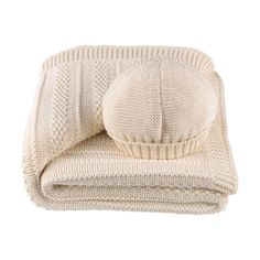 Unisex Baby Cream Moss Stitch Blanket and Hat Gift Set