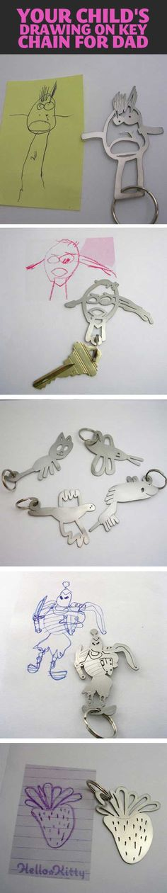 Funny pictures about Your Kid's Drawing On A Key Chain. Oh, and cool pics about Your Kid's Drawing On A Key Chain. Also, Your Kid's Drawing On A Key Chain photos. Homemade Gifts, Diy Gifts, Cute Gifts, Great Gifts, Little Presents, Mother And Father, Mothers, Father Daughter, Drawing For Kids