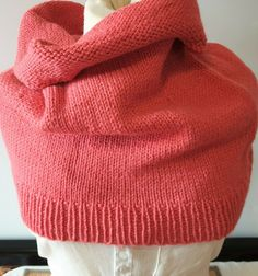 Hand knitted scarf for pulling down over shoulders in coral wool and alpaca by Ebooksandhandmade on Etsy Knitted Flowers, Hand Knit Scarf, Grey Scarf, Pashmina Shawl, Neck Wrap, Cashmere Wool, Alpaca Wool, Mittens, Scarf Wrap