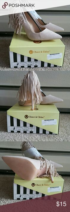 SEXY FRINGE HEELS Sexy Nude heels with fringes on the back, great with a dress or jeans. Ture to size Chase &Chloe Shoes Heels