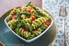 Asparagus Pesto Pasta Salad  This is one of those dishes that improve overnight as the sauce has time to develop its flavor.